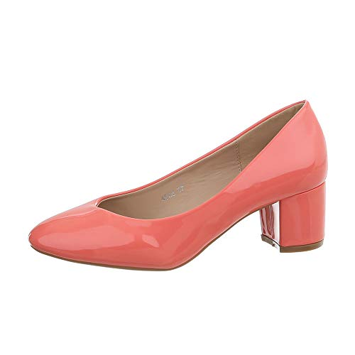 Ital-Design Damenschuhe Pumps Klassische Pumps Synthetik Coral Gr. 36