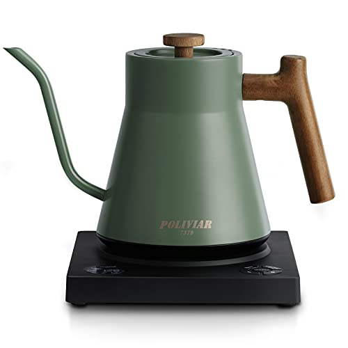 POLIVIAR Electric Gooseneck Kettle, 1200W Electric Tea Kettle w/teak wood handle, 34oz Pour Over Electric Kettle for Coffee & Tea, 18/8 Stainless Steel Inner, Temperature Control & Rapid Heating