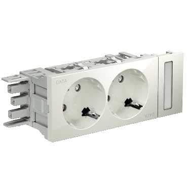 Schneider INS62002 dubbel stopcontact OSI wit DATA-markering voor OptiLine 50