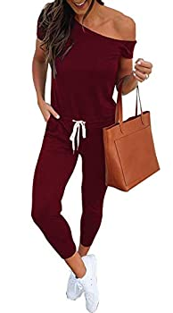 PRETTYGARDEN Women's Casual Solid Sleeveless Jumpsuit Crewneck Drawstring Waist Stretchy Long Pants Romper with Pockets