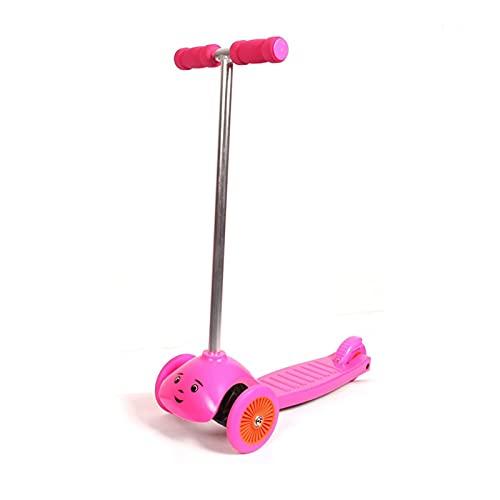 WANGYIYI Patinete para niños patinetes de aleación de Aluminio Scooter de un Solo pie 3 Ruedas Antideslizantes Carga hasta 100 kg Scooters para 2-8 años de Edad (Color : Pink)