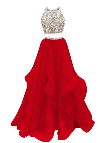 VinBridal 2019 Two Piece Beaded Floor Length Organza Evening Gown Prom Dresses Red 8
