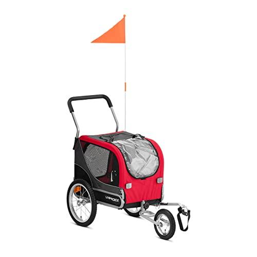 Uniprodo Remolque De Bicicleta para Mascotas Carrito Bici Uni_Trailer_18 (con reflectores a neumáticos, hasta 20 kg, Acople Universal)