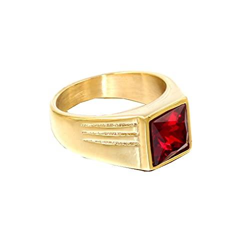 Hombres Mujeres Hip hop Gem Anillos de acero inoxidable con piedra moda simple anillo masculino joyería8Red