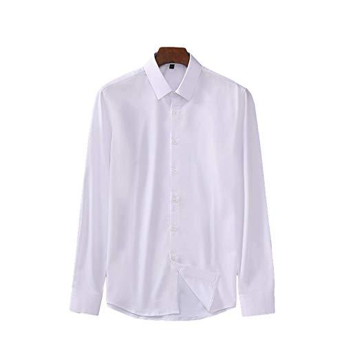 Camisa de Manga Larga con Solapa de Color sólido para Hombre, Informal de Negocios, Trabajo de Oficina, Moda, Camisas Formales de Gran tamaño versátiles Simples M