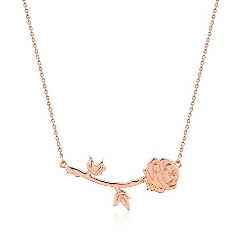 Disney Couture Collar de rosa, diseño de Bella de La Bella y la Bestia, chapado en oro rosa