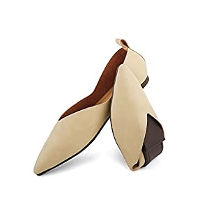 Aumaric Women's Ballet Flats,Pointed Toe Slip On,Comfortable Flat Shoes, Classic Moccasin Ballerinas Dress Shoes Apricot