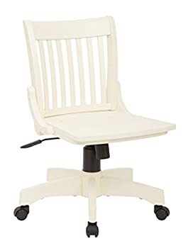 OSP Home Furnishings Deluxe Wood Bankers Armless Desk Chair with Wood Seat Antique White
