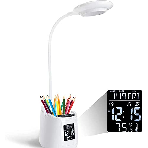 CHENJIA Lámpara de escritorio de protección de los ojos, lámpara de escritorio de oficina en el hogar con termómetro de reloj, LED, lámpara de escritorio con soporte y soporte para teléfono, 3 brillo