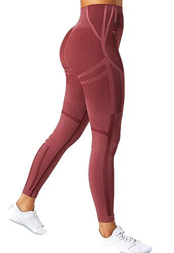 FITTOO Leggings Sin Costura Mallas Pantalones Deportivos Mujer Yoga Super Suave Alta Cintura Elásticos Fitness #1 Rosa S