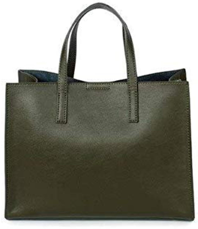 Bloomerang Foxtail & Lily Women Tote Bag Genuine Leather Large Capacity Shoulder Messenger Bags Simple Style Ladies Designer Handbags color Dark Green 30 x 13 x 22 cm