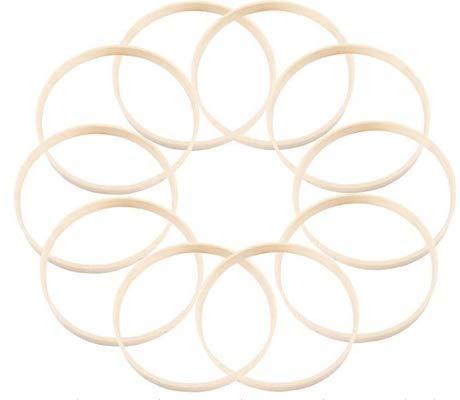 """N/A"" 10 Stück Drahtringe Set Holz Ringe Traumfänger Ringe Bambus DIY Handwerk Traumfänger Machen Dekoration Handwerk für Traumfänger DIY Handwerk -20cm"