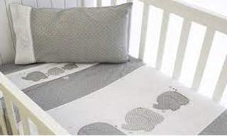 Bubba Blue Petit Elephant Bassinet Sheet Set, Neutral Grey/White/Red