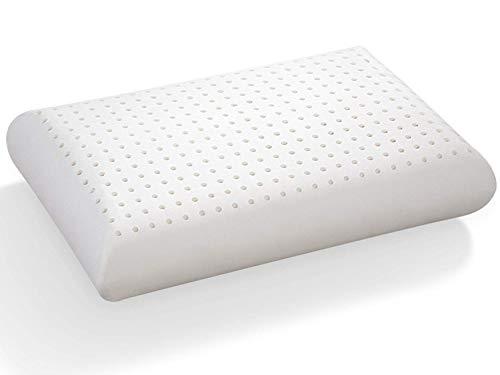 Almohada de 70 x 40 cm, 100 % látex, multiperforado, antiácaros e hipoalergénico, forma clásica tradicional tradicional de 14 cm.