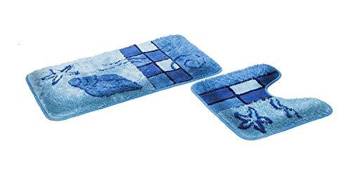 """FD-Workstuff Badematten-Garnitur """"Hamburg"""" │ blau │ 2 Teile │ Badvorleger 50 x 90 cm │ WC-Vorleger 50 x 45 cm (mit Ausschnitt) │ Bad │ Badewannen- / Toiletten-Vorleger │ by"""