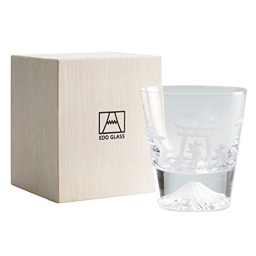 田島硝子 江戸硝子 富士山 ロックグラス 木箱入 (月とねずみ)