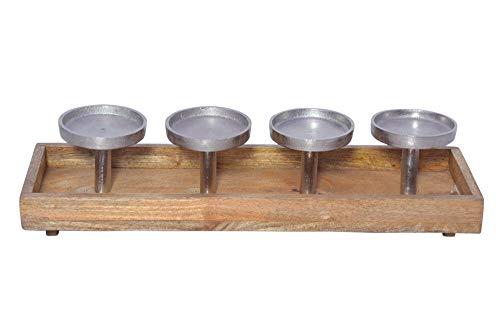 Trendeko Kerzenhalter, Adventskranz adventsgesteck aus Metall und Holz - Adventskranz 47cm weihnachtsdeko