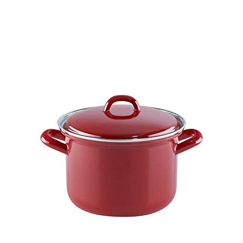 Riess 0122-030 Fleischtopf mit Deckel 16cm, 1.5Liter, Ceramic Glas Red, Rot, Weiß