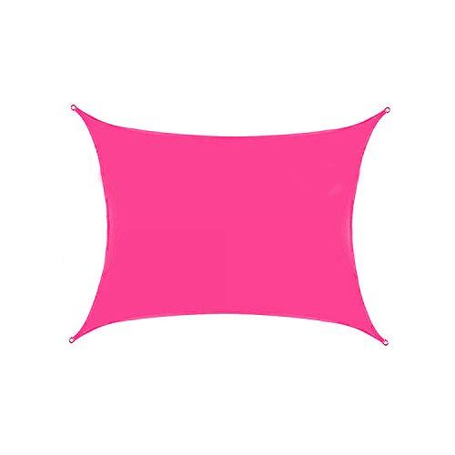 VOXKELY Sonnensegel, rechteckig, wasserdicht, 98 % UV-Block-Sonnenschutz, Markise für Außenbereich, Terrasse, Garten, mit Befestigungsset (2 m x 3 m, pink)