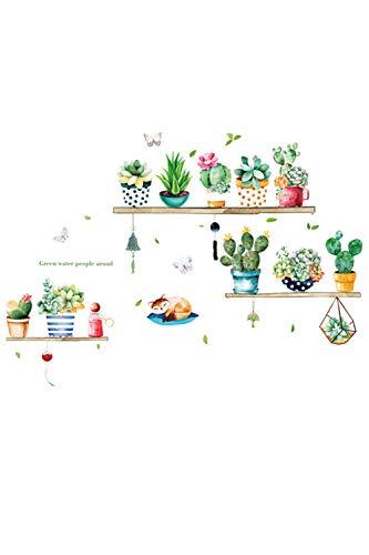 SMTD DIY Topfpflanze Wandaufkleber Wohnzimmer Schlafzimmer Kindergarten Dekoration Wandtattoo Abnehmbare Poster Kaktus Pflanzen Home Decor Aufkleber