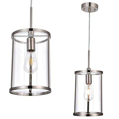 Pendant Light Fixture, Brushed Nickel with Clear Glass Shade, Industrial Adjustable Hanging Light Fixtures,Ceiling Pendant Lamp for Kitchen Living Room Bedroom Hallway