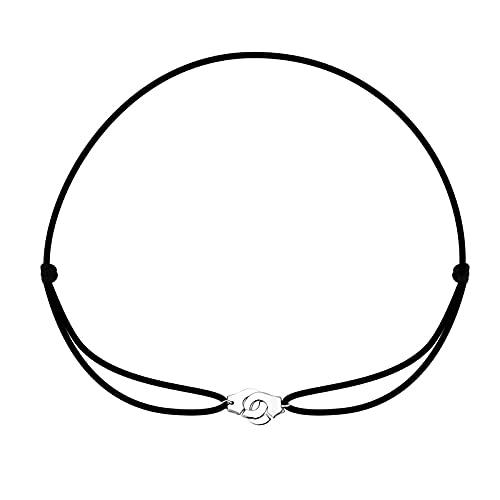 Collar Collar De Esposas De Plata De Ley 925, Collar Con Colgante De Les Menottes Con Cuerda Ajustable Para Hombres, Mujeres, Cordones, Bijoux Collier