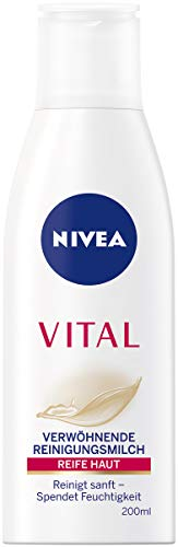 NIVEA VITAL Verwöhnende Reinigungsmilch (200 ml), Gesichtsreinigungsmilch entfernt Make-Up und Hautverschmutzungen gründlich, sanfte und feuchtigkeitsspendende Reinigungsmilch