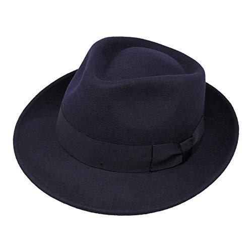 Borges & Scott B&S Premium Doyle - Teardrop Fedora Hut - 100% Wollfilz - perfekt zum Reisen - was-serabweisend - Unisex - 60cm Dunkelblau