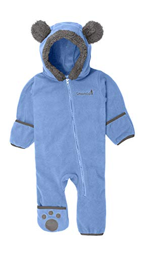 Snonook Fleece Baby Bunting Hooded Romper Bodysuit with Fold-Over Mitten and Footed Cuffs, Sky Blue, 3/6 Months