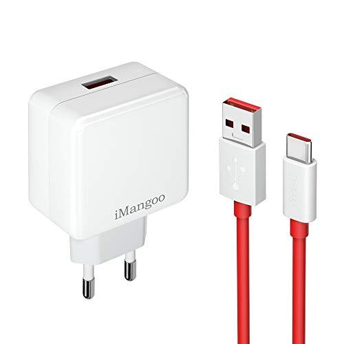 Caricabatterie Dash OnePlus, adattatore di alimentazione iMangoo 20W Caricabatterie da parete per ricarica da 5V 4A con cavo dati di ricarica rapida USB C da 6 piedi per OnePlus 7 6T 6 5T 5 3T 3
