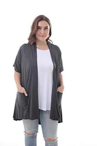 ZERDOCEAN Damen Übergröße Cardigan, leicht, weich Bedruckte Bluse mit Taschen,kurzärmlig Dunkelgrau 56-58