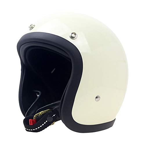 Changanfengkuo Motorrad Auto Fahrradhelm Schwarz/Weiß/Rot FRP 3D Schnalle Reines Leder Kinn Mit Persönlichkeit Retro Harley Leder Halbhelm Dauerhaft (Farbe : White, Size : XL)