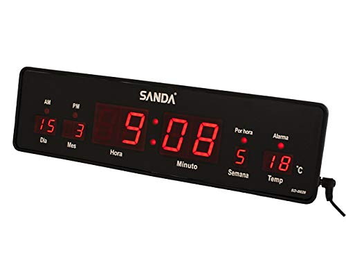 Sanda SD-0028 Reloj Digital de Pared y Mesa Led Color Rojo Calendario Termometro Alarma Despertador Clock Hora Melodia Fuente de Alimentacion
