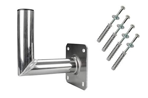 GALLUNOPTIMAL Aluminium Wandhalter 20 cm INKL Montageset & Mastkappe für Satelliten-Schüssel | Satelliten-Anlage | SAT-Halterung | SAT-Antenne 200 mm