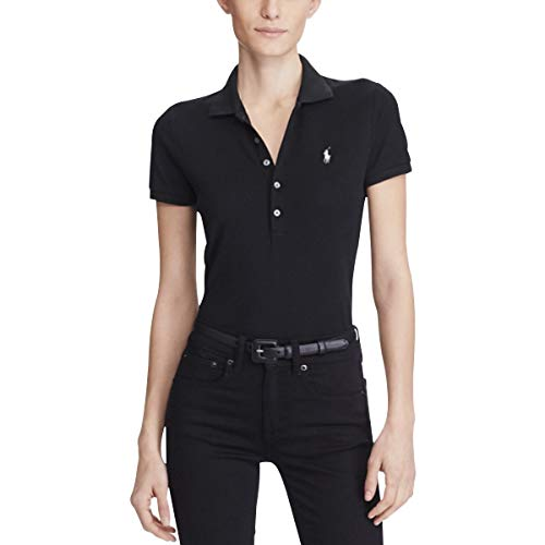 Polo Ralph Lauren Damen Stretch MESH/Julie Poloshirt, Schwarz (Polo Black 1018), Large