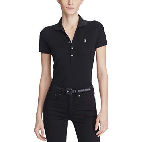 Polo Ralph Lauren Damen Stretch MESH/Julie Poloshirt, Schwarz (Polo Black 1018), Small