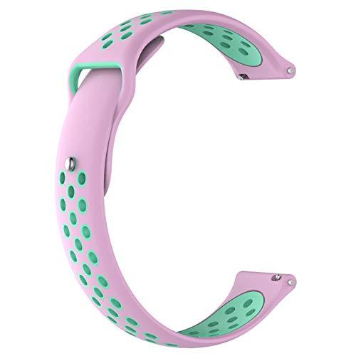Correa de Gel de sílice, Samsung/Huawei/Garmin/LG/TIWATCH/Compatible, Cinta de reemplazo de Silicona, Ancho de la Correa: 20mm / 22mm, Liqingshangmao (Color : Pink Green, Size : 20mm)