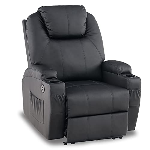 Mcombo Electric Power Recliner Chair with Massage and Heat, 2 Positions, USB Charge Ports, 2 Side Pockets and Cup Holders, Faux Leather 7050 (Not Lift Chair) (Black)