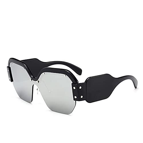 Moda Gafas De Sol Cuadradas De Gran Tamaño De Diseñador De Marca Italiana De Lujo para Mujer, Gafas De Sol Rosas Sin Montura Retro para Mujer, Bsilver