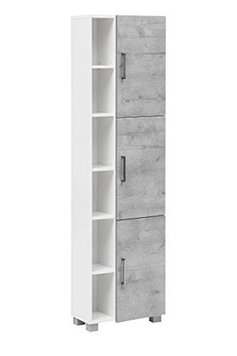 Schildmeyer Samu Hochschrank 147723, weiß glanz / steingrau