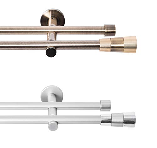 Rollmayer metall Gardinenstange Ø 16mm Rohr, Silber für Ösenvorhang Gardinen Vorhang (Fenix 160cm lang, silber,...