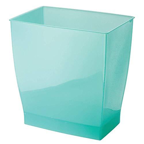 iDesign Spa Rectangular Trash, Waste Basket Garbage Can for Bathroom, Bedroom, Home Office, Dorm, College, 2.5 Gallon, Aruba