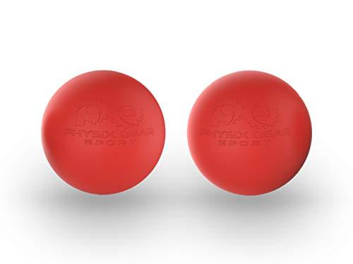 Physix Gear Sport Lacrosse Ball Set of 2 - Best Deep Tissue Massage Balls for Trigger Points, Plantar Fasciitis Neck & Back Pain - Roller for Rehab, Acupressure Foot Reflexology & Myofascial (RED 2PK)