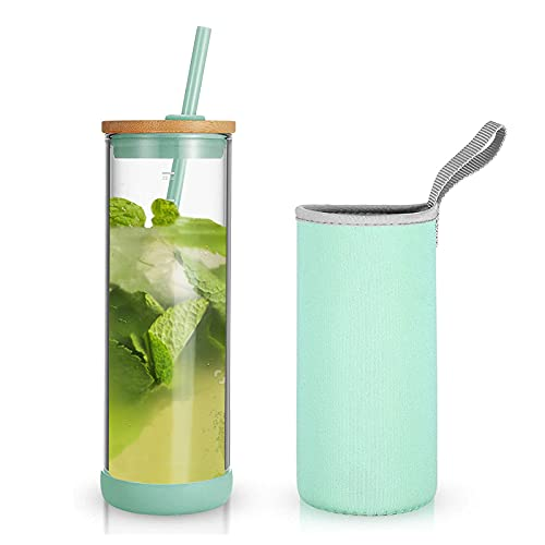 Tronco Iced Coffee Cup Glass Tumbler with Straw and Bamboo Lid|Wide Mouth Reusable Smoothie Cup with Straw and Insulator Sleeve|Borosilicate Glass Water Bottle with Lid|24oz