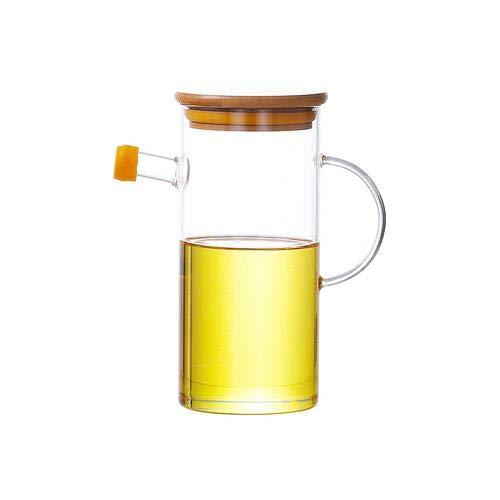 500ml Ölflasche Auslaufsicheres Glas Öl-Topf Mit Bambus-Abdeckung Korrosionsbeständige Öl-Essig-Speicher-Organisator Korrosionsschutz-Gewürzflasche Für Küche