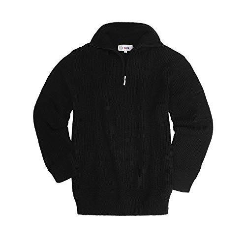 SKOGEN CDM Strick-Pullover mit Troyerkragen in schwarz bis Übergröße 9XL, Größe:4XL