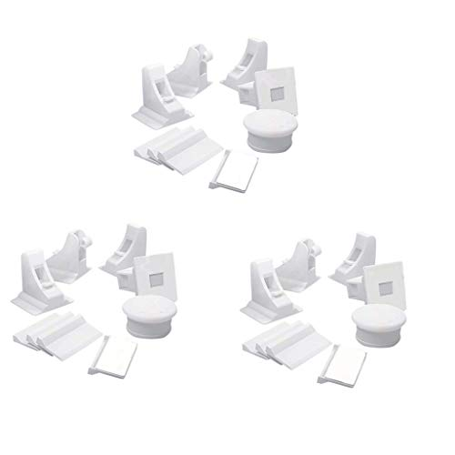 Barcley Child Safety Magnet Locks (10-Pack with 2 Key) Best Baby Proofing Lock for Kitchen Cabinet, Cupboard - No Tool Drill with 3M Adhesive, Cabinets Door Locking, Magnetic Latches Kit (White)