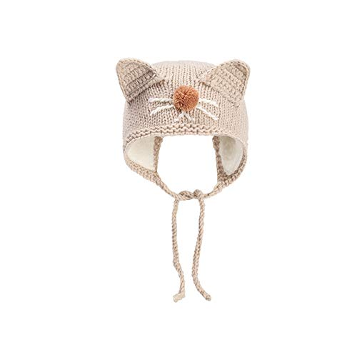 Baby hat autumn and winter hand-woven warm baby cute cute knitted hat newborn ear protection wool hat