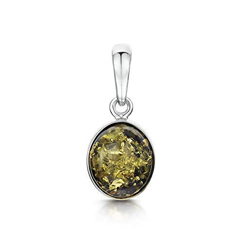 Amberta  -  925 Sterling-Silber  Sterling-Silber 925 Ovalschliff   grün Ambre