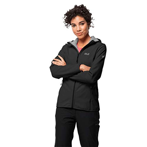 Jack Wolfskin Damen Northern Point Damen Atmungsaktiv Wasserabweisend Winddicht Outdoor Funktionsjacke Wanderjacke Softshelljacke, schwarz (black), S